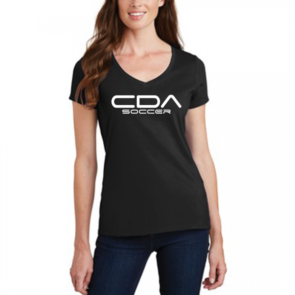 model wearing CDA Soccer Slammers FC Ladies V black