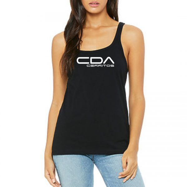 model wearing CDA Cerritos Slammers FC Ladies tank black