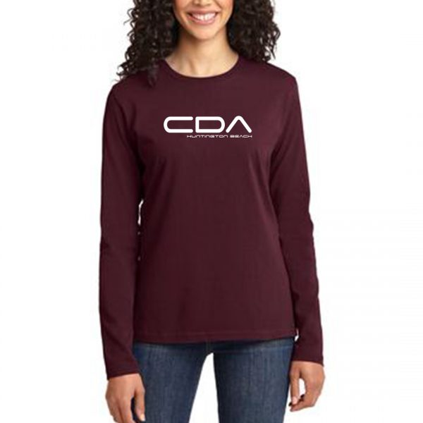 model wearing CDA HB Slammers FC Ladies LS maroon